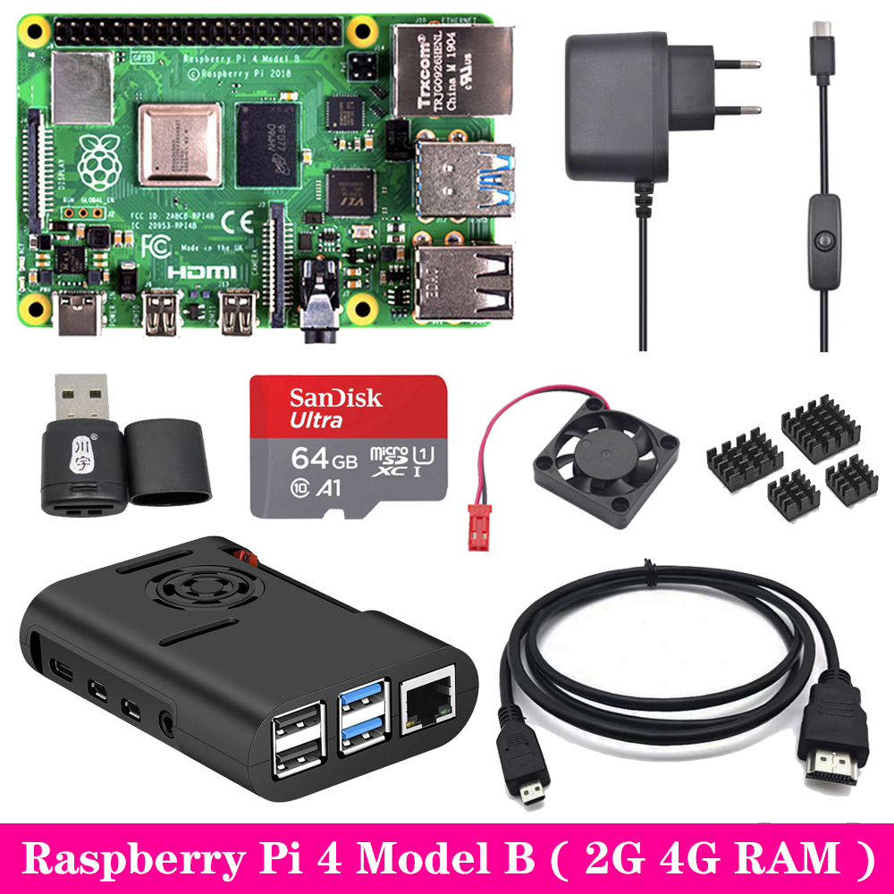 Raspberry Pi 4 Model B 2G 4G RAM + ABS Case + Cooling Fan + Power Supply Charger + Aluminum Heat Sink For Raspberry Pi 4 Model B