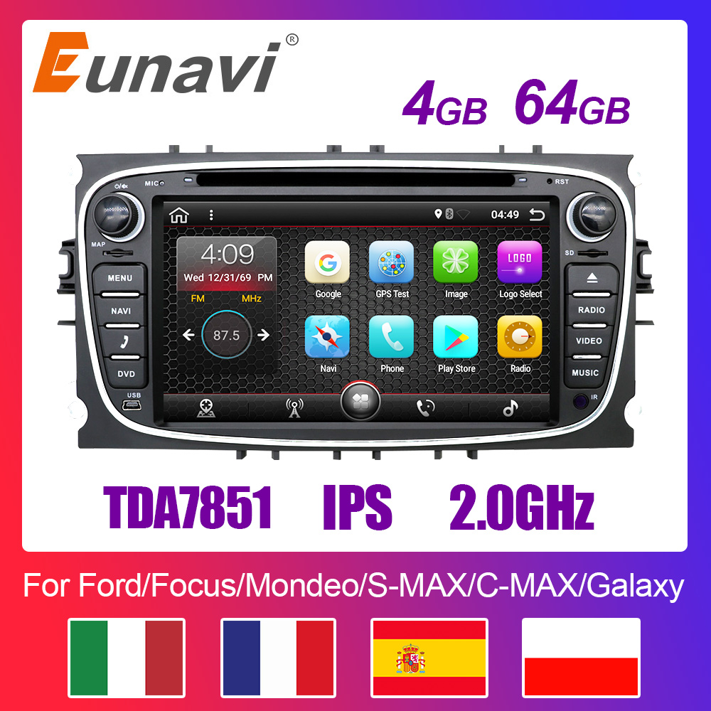 Eunavi 2 din Android 9 Car DVD Multimedia Player <font><b>GPS</b></font> for <font><b>FORD</b></font> Focus 2 <font><b>Mondeo</b></font> S-MAX C-MAX Galaxy 4G 64G TDA7851 IPS auto radio fm image