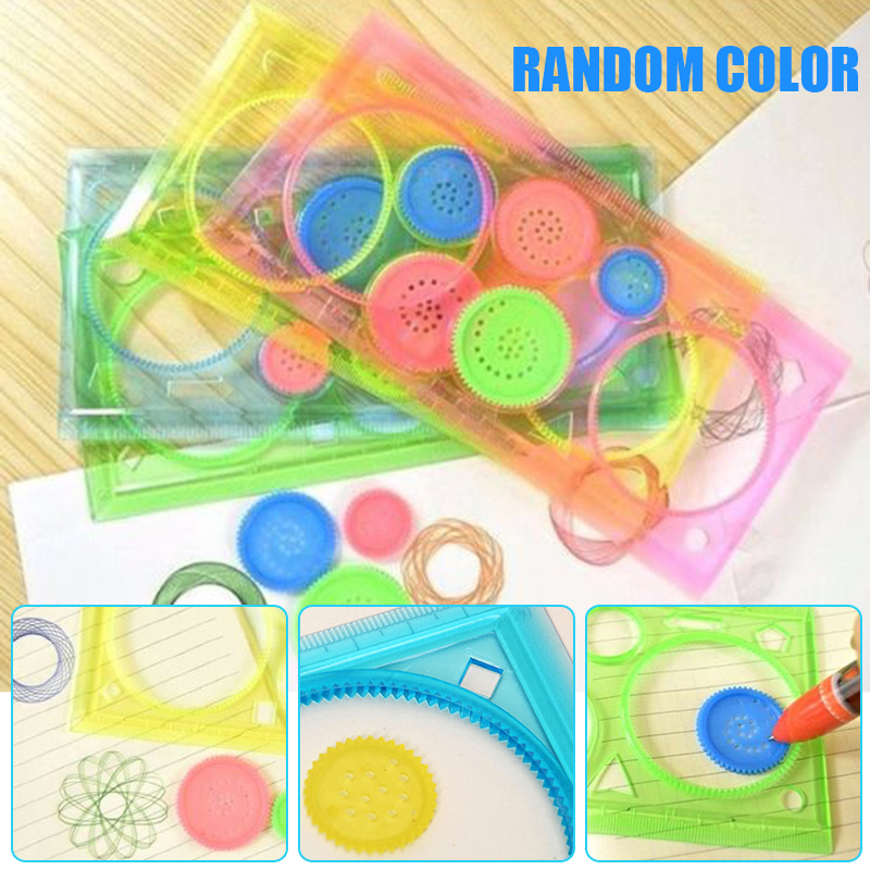 Plastic Creative Spirograph Ruler Student Straight Ruler Spiral  Drawing Education Painting Multi-function Puzzle Toys Sationery