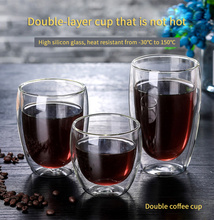 260ml New Heat-Resistant Coffee Cup Double Wall Transparent Cute Milk Tea Glass Cup Cocktail Vodka Wine Mug Christmas Gift Cup