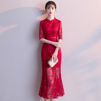 2020 bridesmaid wedding red dress elegant lady lace flower gowns full length cheongsam qipao evening gown chinese dress qipao