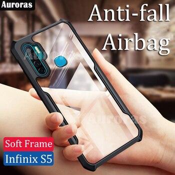Перейти на Алиэкспресс и купить Auroras для Infinix S5 Lite чехол официальный оригинальный противоударный прозрачный с мягкой рамкой чехол для infinix s5 анти-осень чехол с дюймвоздушной по...