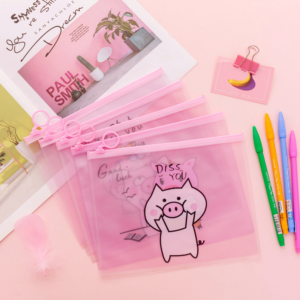 Cartoon Creative Pink Pig A5 Waterproof Desk Organizer Document Bag File Folder PVC Storage Case Stationery Pencil Bag+Zipper