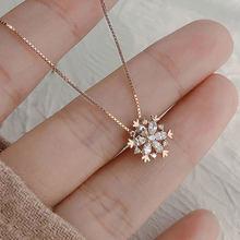 Feminino meninas popular floco de neve brilhando cristal colar strass neve pingente colares ano novo presente jóias