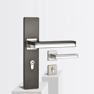 Image 1 - LED Light Door Handles for Interior Doors Zinc Alloy  Rosette and Plate Door Lever Set Wood Door Handle Lock