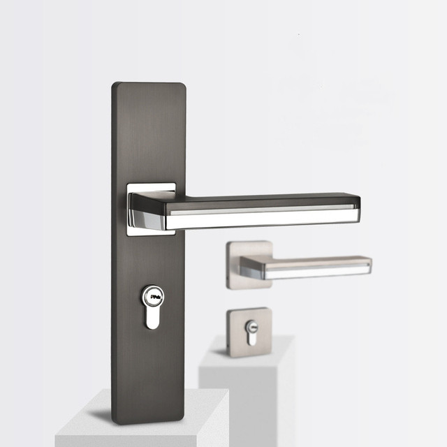 LED Light Door Handles for Interior Doors Zinc Alloy  Rosette and Plate Door Lever Set Wood Door Handle Lock