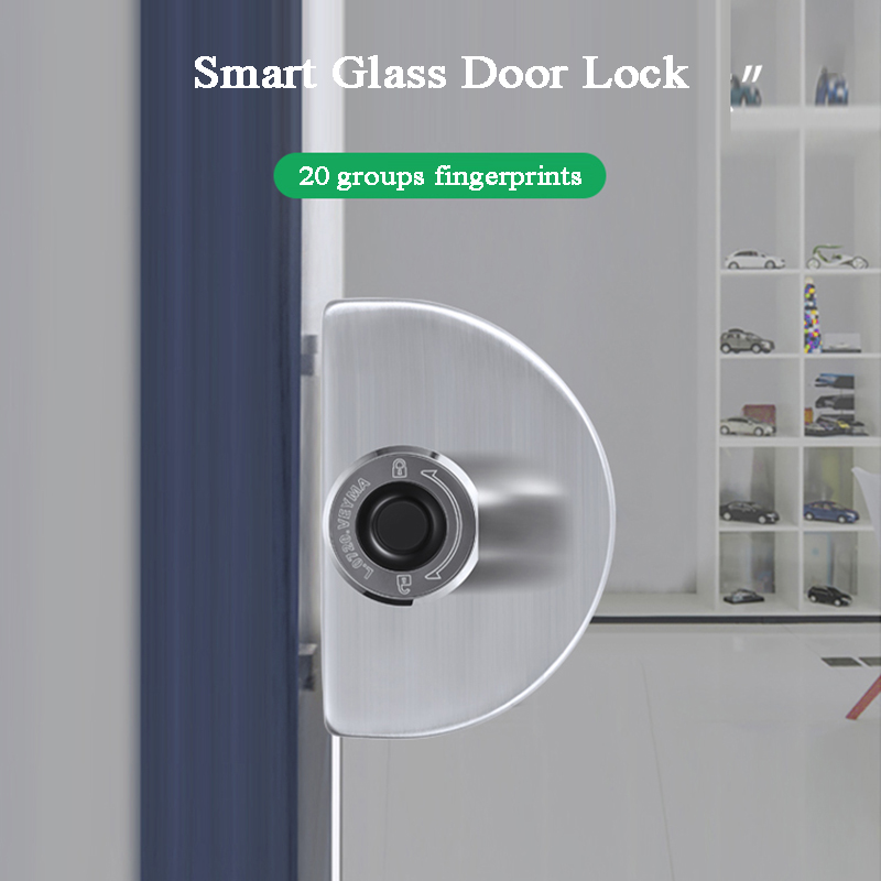 12mm Glass Door Lock Biometric Fingerprint Keyless Electronic Lock USB Lithium Battery Office/Store/showcase/File Cabinets Lock