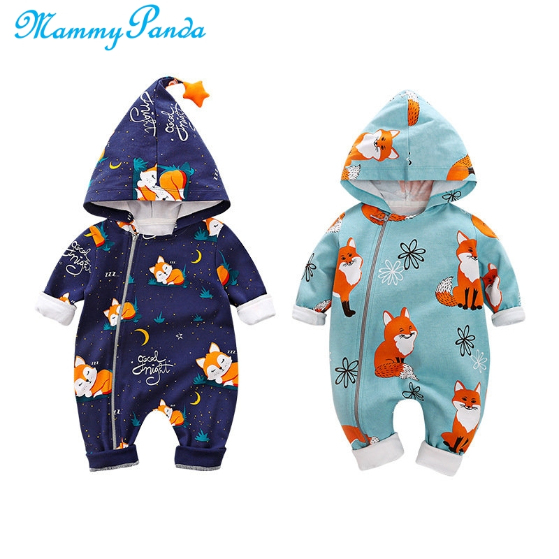 For Newborns Cartoon Fox Animal Baby Rompers Boy Girls Print Long Sleeve Cotton Hooded Romper Jumpsuit Costume Cute Baby Clothes