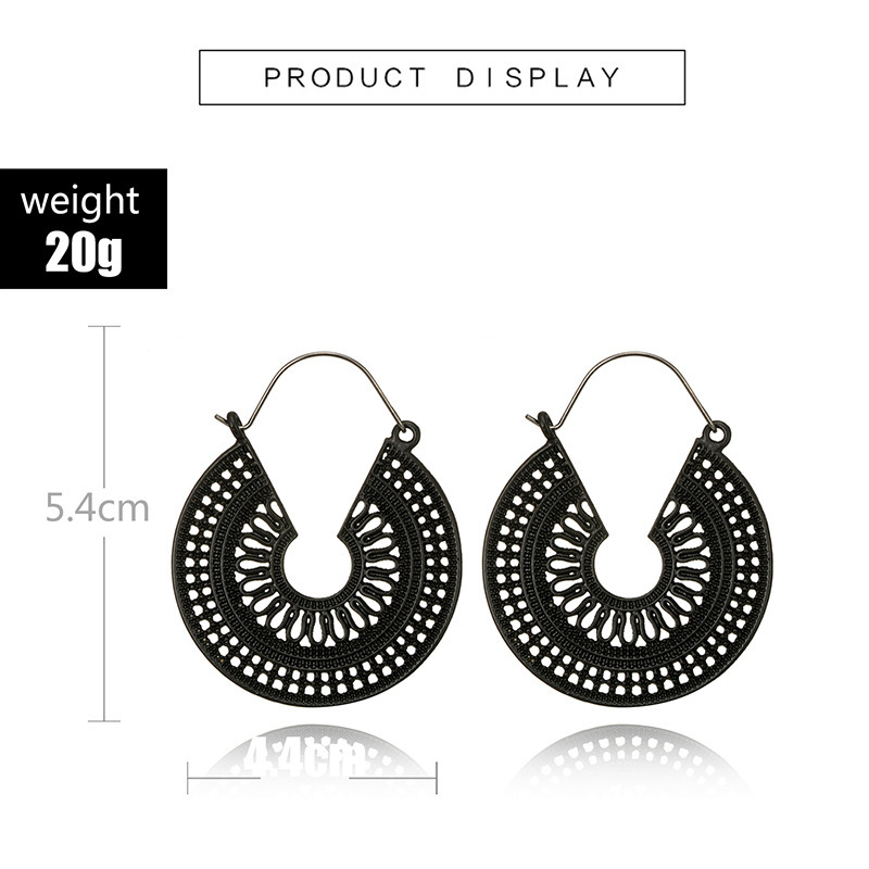 H07ca5db7daf24e2f9278822ce0475484X - HuaTang Vintage Gold Silver Color Metal Dangle Hollow Earrings for Women Geometric Carved Ethnic Earring Indian Jewellery brinco