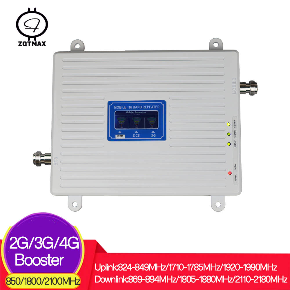 ZQTMAX <font><b>850</b></font> 1800 <font><b>2100</b></font> mobile signal booster Tri Band 2g 3g 4g repeater CDMA WCDMA DCS UMTS LTE cellular Amplifier image