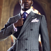 2021 New Gray Striped Suit Men Vintage Tailored Slim Business Suits Dinner Suits Prom Dresses Groom Wear  2Pieces(Jacket+Pants)