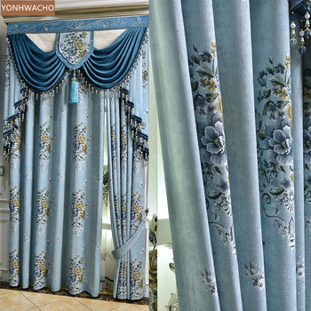 Custom curtain European jacquard chenille simple living room bedroom blue thick cloth blackout curtain valance tulle panel C155