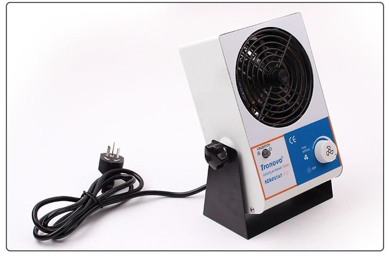 Ventilateur silencieux de bureau vitesse du vent réglable éliminateur statique Mini ventilateur antistatique ventilateur ionisant TR7001