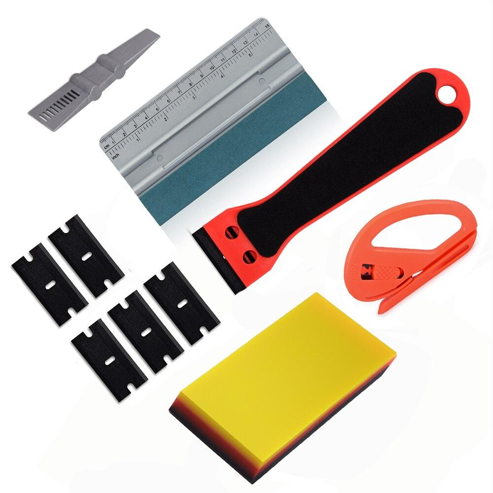 EHDIS vinilo coche de herramientas de espátula limpiacristales con fieltro TPU raspador de pegatinas de coche removedor de fibra de carbono que cortadora de película de Kit de herramientas