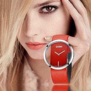 Image 1 - DOM reloj deportivo para mujer, resistente al agua hasta 30 m, correa de cuero genuino, elegante