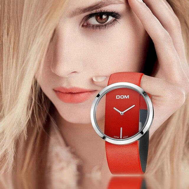 DOM reloj deportivo para mujer, resistente al agua hasta 30 m, correa de cuero genuino, elegante