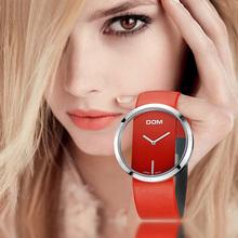 Zegarek DOM kobiety luksusowa moda na co dzień 30 m wodoodporne zegarki kwarcowe pasek ze skóry naturalnej sport panie elegancki zegarek na rękę dziewczyna tanie tanio QUARTZ Klamra CN (pochodzenie) ALLOY 3Bar simple 21mm ROUND Odporne na wodę Hardlex LP-205 19cm Papier Skórzane 42mm Quartz Wristwatches