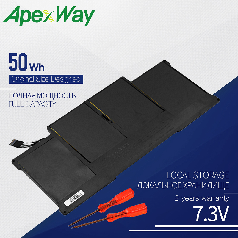ApexWay 50 Вт/ч 7,3 В Новый аккумулятор для ноутбука Apple Macbook Air A1369 2011,13 дюйма A1466 2012, A1405, MC503 MC504 MC966 MD231 MD232