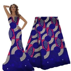 Image 1 - ロイヤルブルーフューシャ刺繍生地綿スイスボイル生地ドライレース生地生地のウェディングドレス