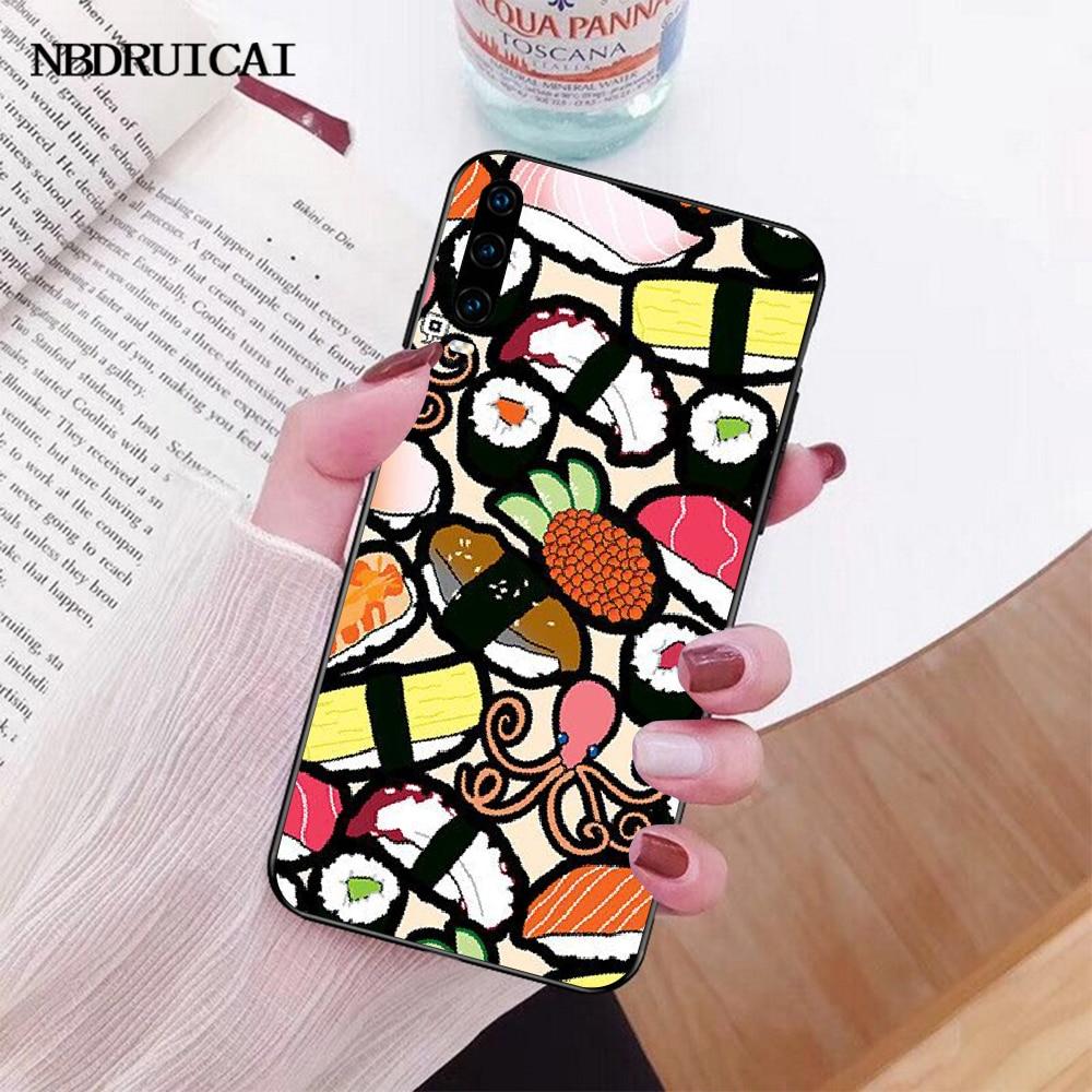NBDRUICAI Sushi Pug Novelty Sushi Restaurant Phone Case Cover for Huawei P30 P20 P10 P9 P8 Mate 20 10 Pro Lite