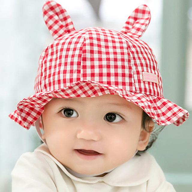 New-Plaid-Print-Cotton-Traveling-Sun-Hat-Baby-Summer-Hat-Kids-Girls-Rabbit-Ears-Cap-Sun.jpg_640x640