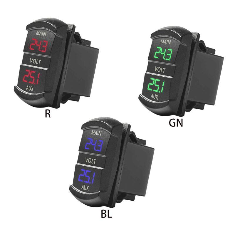 Dual Voltmeter Voltage Battery Monitor LED Display Indicator 12V-24V Car Boat
