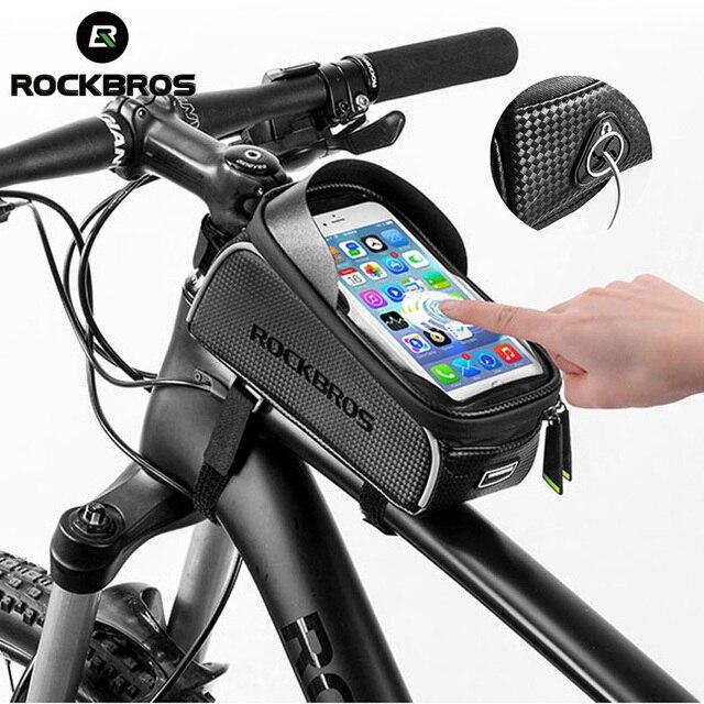 Rockbros saco de bicicleta tela sensível ao toque à prova dwaterproof água ciclismo topo tubo dianteiro quadro mtb road bike saco 6.0 caso do telefone acessórios da bicicleta 5