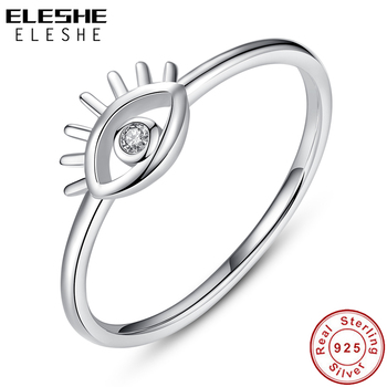 ELESHE Real 925 Sterling Silver CZ Eye Finger Ring Clear Crystal Simple Rings for Women Wedding Engagement Rings Female Jewelry