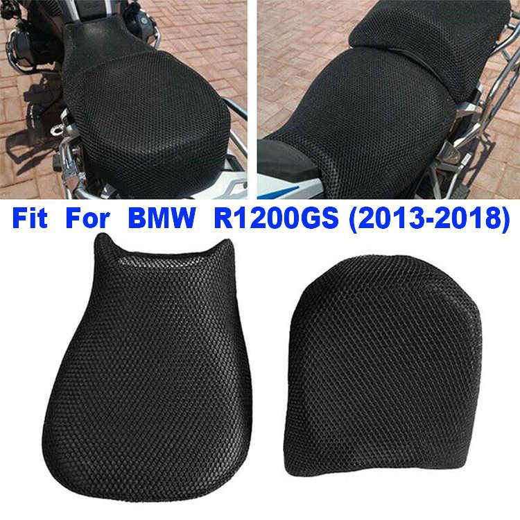 2 pièces/ensemble noir 3D respirant maille tissu pour BMW R1200GS R 1200 2013-2018 respirabilité moto siège couverture refroidissement maille