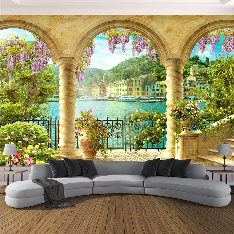 Custom Photo Wallpaper 3D Pillar Arch Lake View Building Murals Living Room Study Creative Home Decor Wall Painting 3D Frescoes