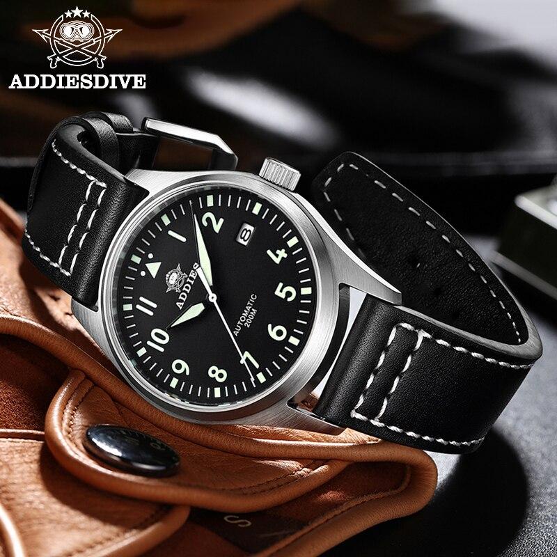 Relógio de Mergulho Mecânico para Homens Relógio de Pulso Masculino de Couro com Cristal de Safira Nh35 à Prova Diver Relógio Piloto Automático D'água 200m