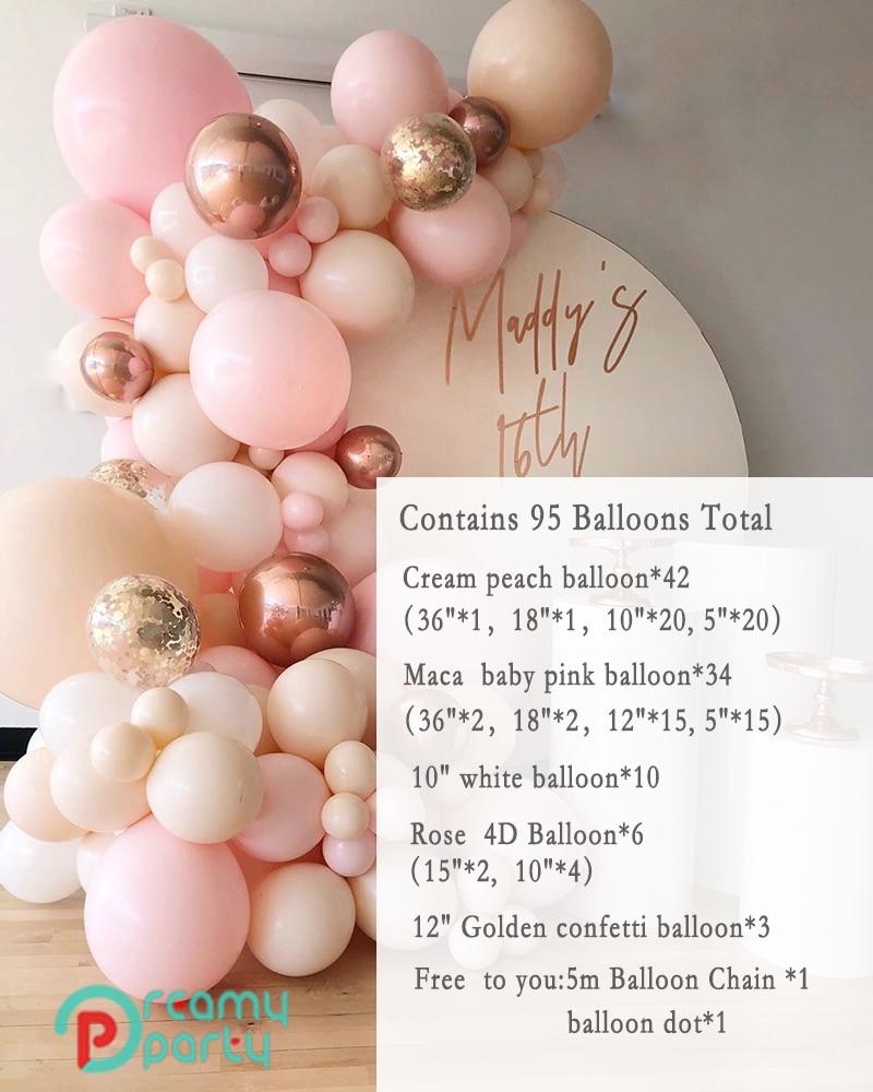 Garland WHITE Backdrop Balloons Party Pastel Decor Baby Balloon Peach Shower Pink Macaron Wedding Baby Arch 95PCS Wall