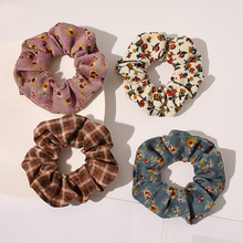 Vintage Corduroy Plaid Floral Printed Hair Ties Scrunchies Women Sweet Flowers Elastic Hair Bands Simple Stripe Hair Accessories