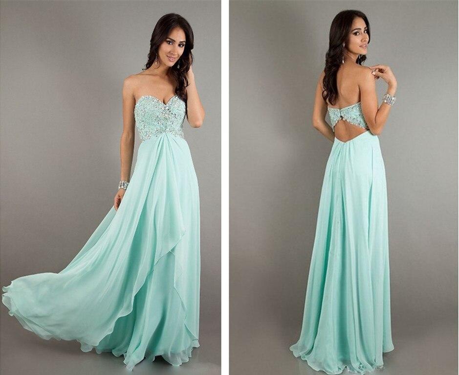 Free Shipping 2015 Maxi Dress New Arrival Vestidos Blue Long Chiffon Elegant Sexy Backless Crystal Party Custom Evening Dresses