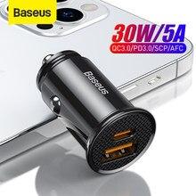 Baseus – chargeur de voiture USB 30W, Charge rapide 4.0 3.0 FCP SCP AFC PD, pour téléphone Huawei Xiaomi iPhone 12