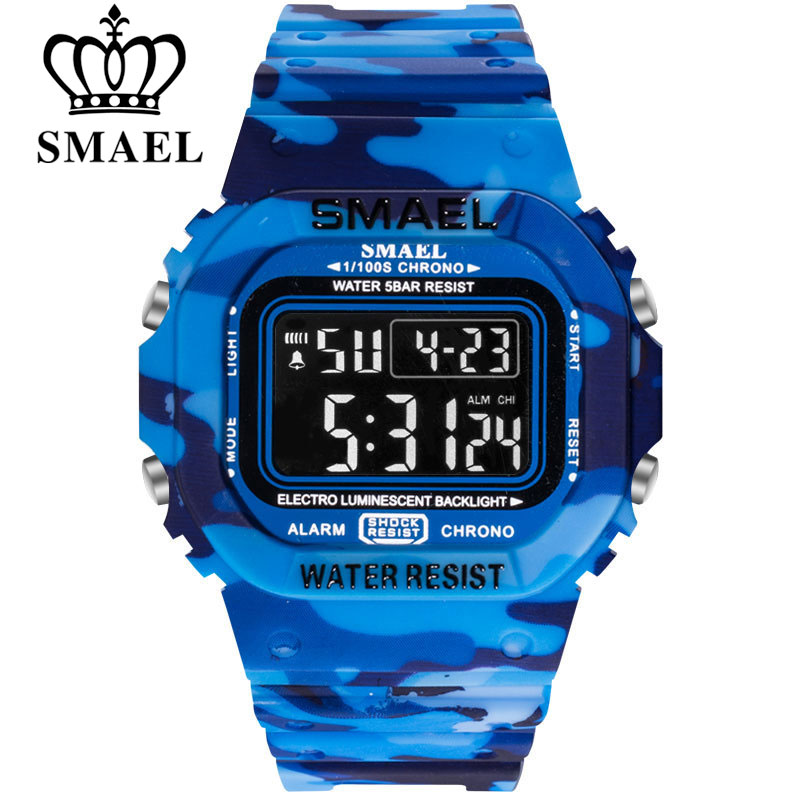 Top Brand Digital Watch SMAEL Men Sports Watches LED Military Army Camouflage Wrist Watch For Man Waterproof Student Stopwatch