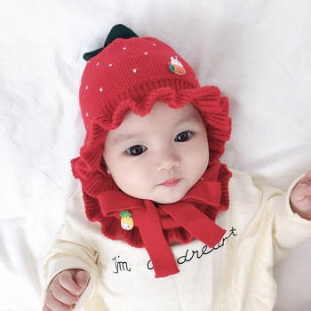 Winter Baby Hat Scarf Set Strawberry Knitted Caps Warm Hooded Scarf Ear flap Knitted Hat for Girls Kids 2pcs set baby toddler winter set cartoon wool knitting hat scarf warm set infant toddler girls boy knitted keep warm clothes set
