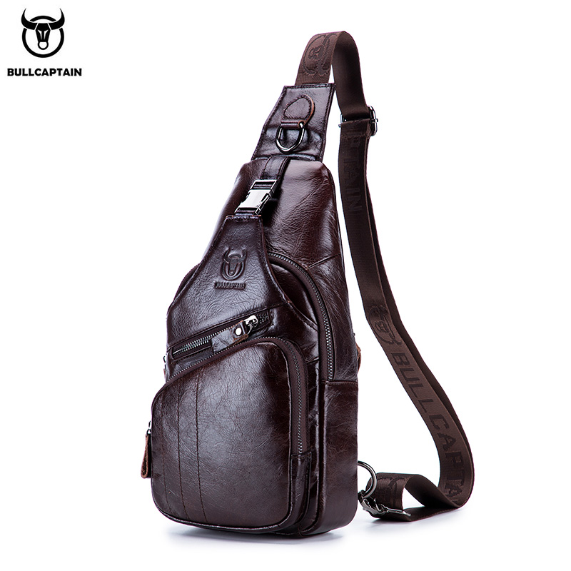 BULLCAPTAIN 2019 Genuine Leather Men Messenger Bag Casual Crossbody Bag Fashion Men's Handbag Men Chest Bag Male Shoulder Bag