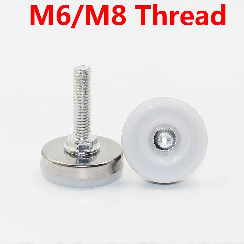 8pcs Protetores de Pernas Pés de Móveis Em Aço Inoxidável Tabela Pernas Pés Acessórios de Hardware M6 Carbinet/M8 Fio Branco