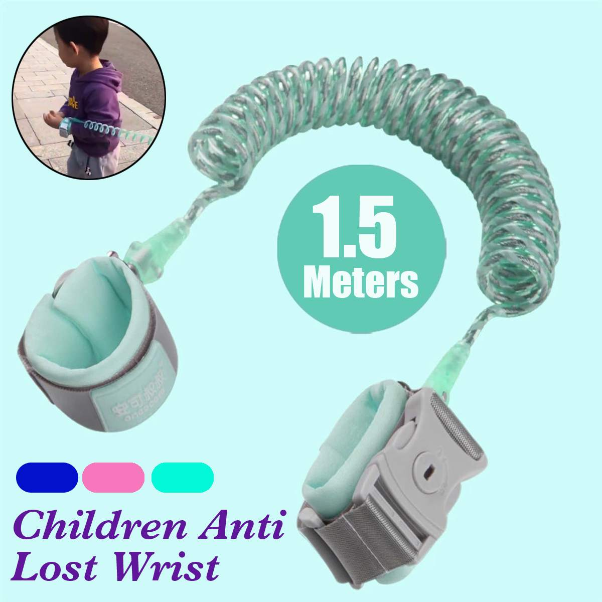 Newest 1.5M Child Anti Lost Wrist Strap Rope Toddler Leash Magnetic Safety Outdoor Walking Hand Belt Band Anti-lost Wristband