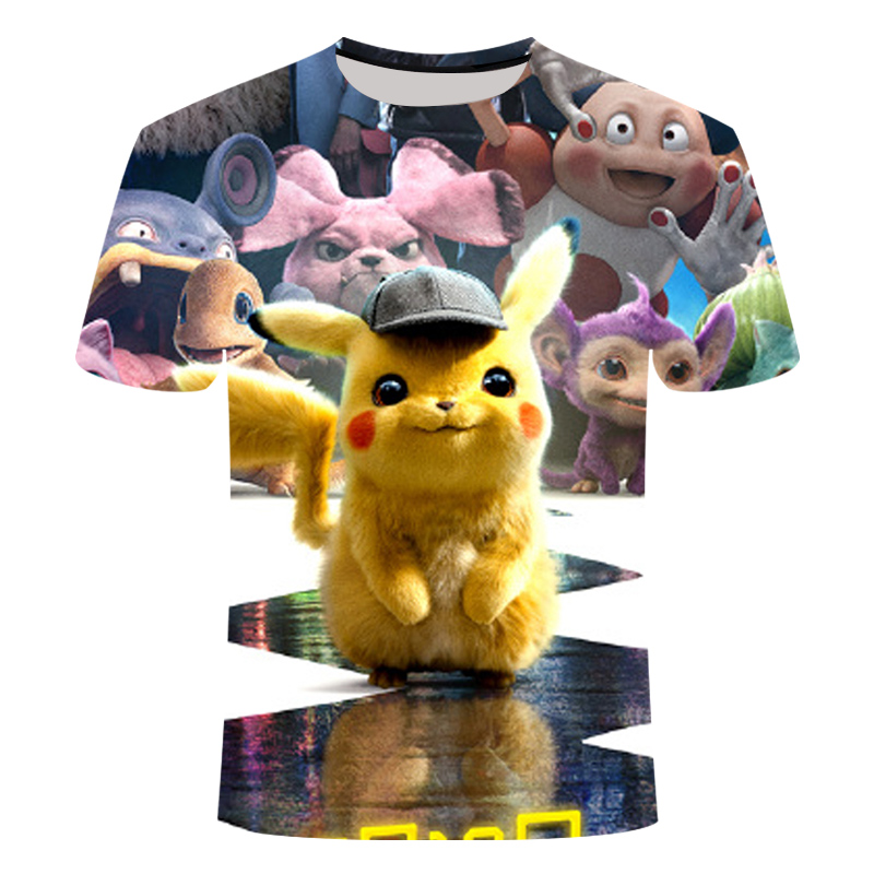 3D Movie Detective Pokemon Pikachu Tshirt For Men Women Children T-shirt Summer Casual Anime Cartoon Tees Kid's funny pokémon