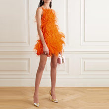 Роскошные короткие платья с перьями мини платье на тонких бретелях