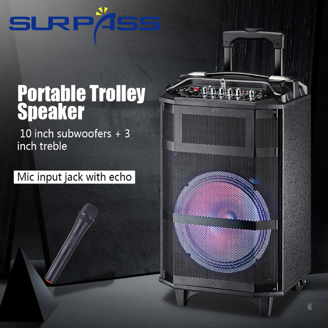 휴대용 야외 파티 배터리 스피커 오디오 시스템 사운드 활성 Mp3 플레이어 디지털 앰프 손잡이와 10 인치 확성기