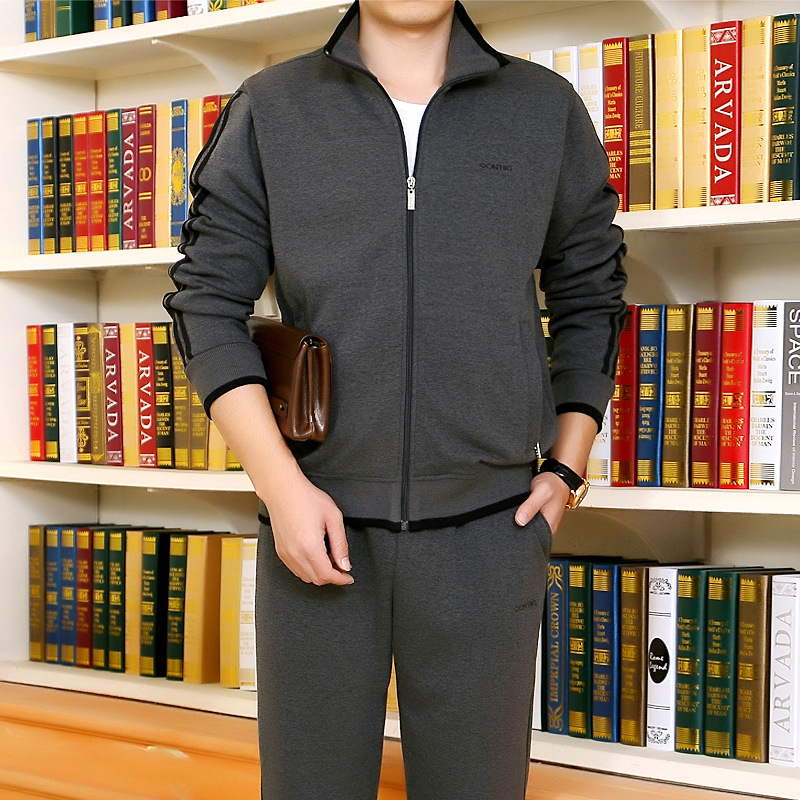 Middle-aged Sports Clothing Set Men's Spring And Autumn Thick Men Casual Winter Dad Sportswear Winter Two-Piece Set