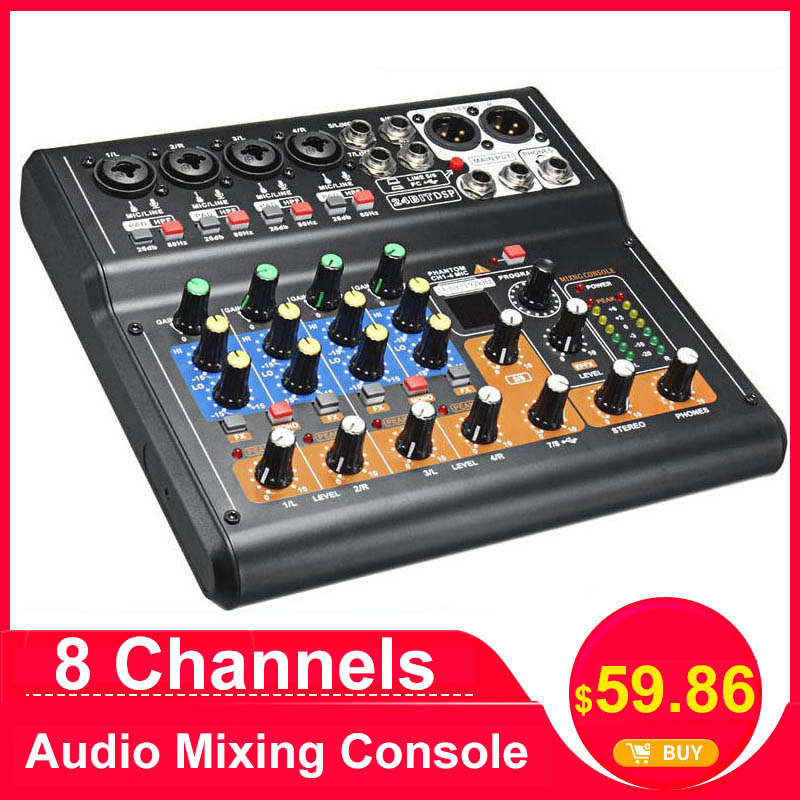 LEORY Professional 8 Channels Audio Mixing Console Mini USB Digital DJ Mixer With PAD Switches DSP Effect For Karaoke PC Meeting