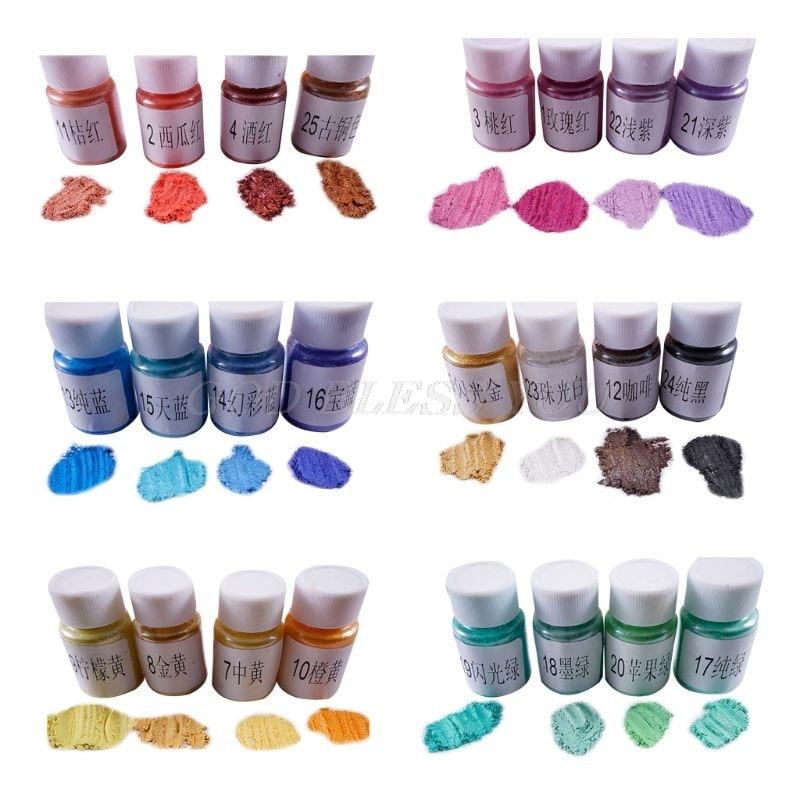 4 Pcs/set DIY Crystal Epoxy Pearlescent Powder Slim Material Mica Glitter Crystal Mud Filler