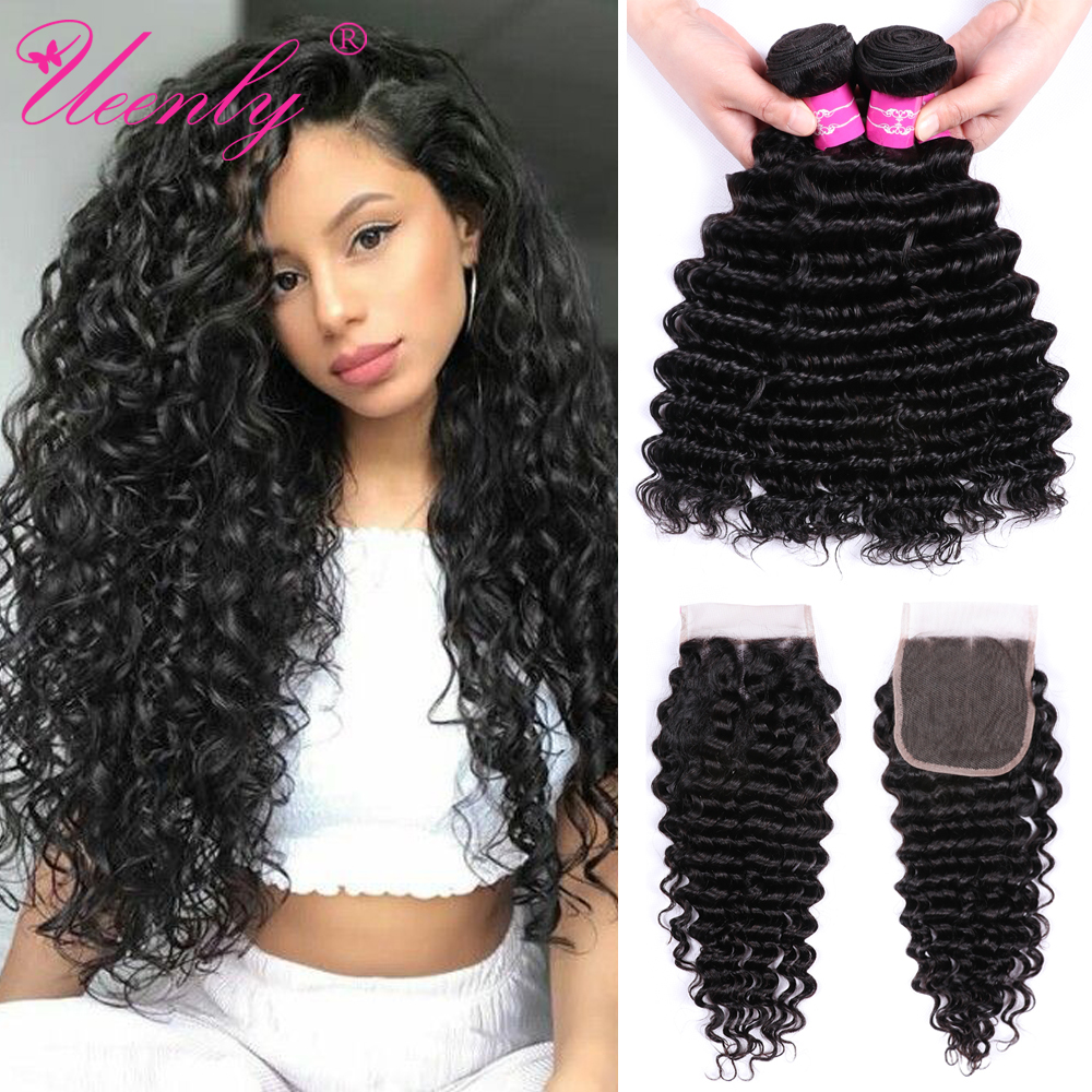 UEENLY Deep-Wave-Bundles Weave Closure Hair Brazilian with Non-Remy