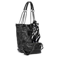 FGGS 2 Pcs/set Donne di Modo del Cranio Borsa A Tracolla Della Borsa del Sacchetto di Tote Della Borsa In Pelle Crossbody Bag Con Borse Femminili di Seta Nero
