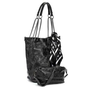 Image 1 - FGGS 2 Pcs/set Fashion Skull Women Handbag Shoulder Bag Tote Purse Leather Crossbody Bag With Silk Female Black Handbags