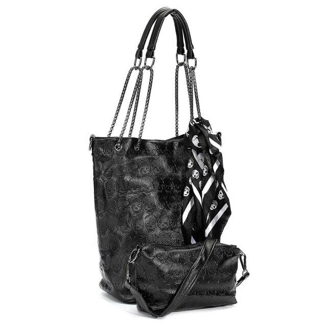 FGGS 2 Pcs/set Fashion Skull Women Handbag Shoulder Bag Tote Purse Leather Crossbody Bag With Silk Female Black Handbags